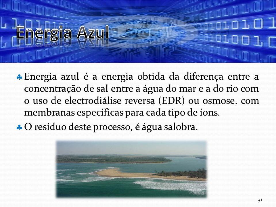 Curso Técnico de Informática e Sistemas Energia azul é a energia obtida da diferença entre a concentração de sal entre a água do mar e a do rio com o uso de electrodiálise reversa (EDR) ou osmose, com membranas específicas para cada tipo de íons.
