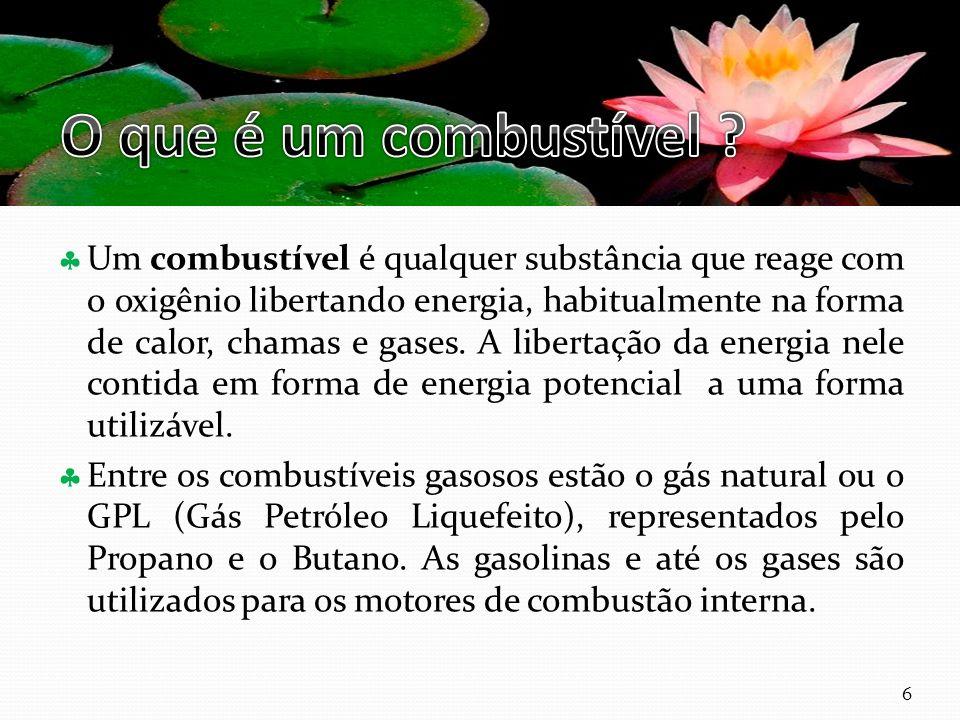 Um combustível é qualquer substância que reage com o oxigênio libertando energia, habitualmente na forma de calor, chamas e gases.