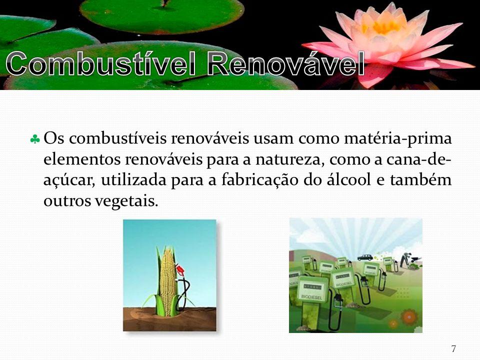 Curso Técnico de Informática e Sistemas Os combustíveis renováveis usam como matéria-prima elementos renováveis para a natureza, como a cana-de- açúcar, utilizada para a fabricação do álcool e também outros vegetais.