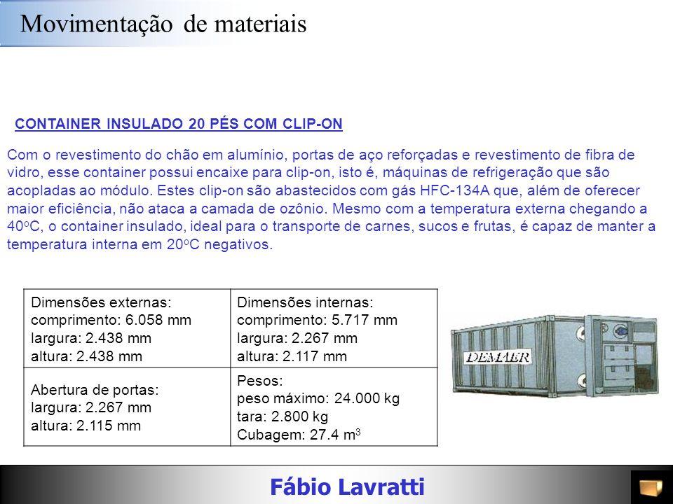 Fábio Lavratti Movimentação de materiais 3º e 4º DígitosTIPOCARACTERÍSTICAS 80 a 89CARGA A GRANEL (DRY BULK)Códigos ainda a determinar; 90 TRANSPORTE