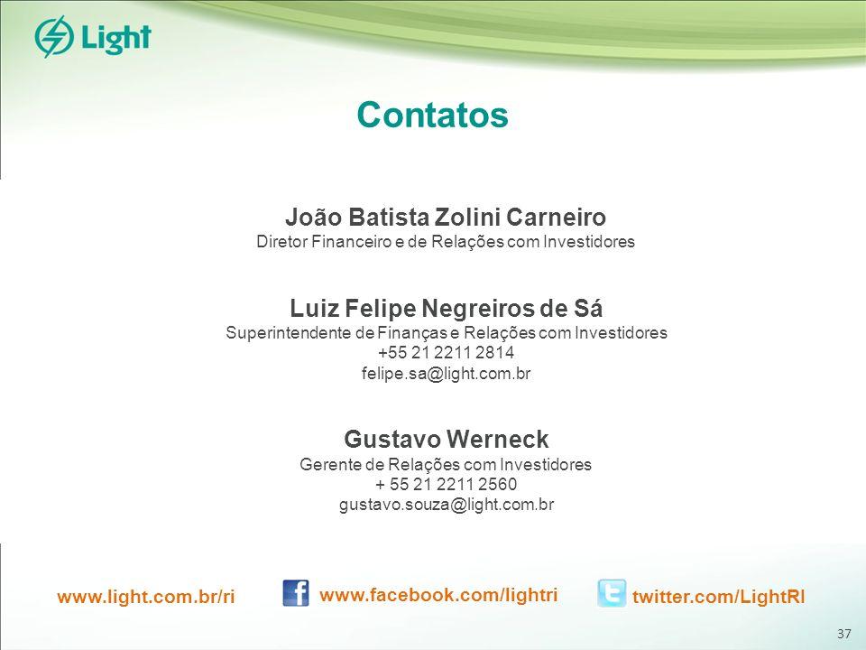 Contatos João Batista Zolini Carneiro Diretor Financeiro e de Relações com Investidores Luiz Felipe Negreiros de Sá Superintendente de Finanças e Relações com Investidores +55 21 2211 2814 felipe.sa@light.com.br Gustavo Werneck Gerente de Relações com Investidores + 55 21 2211 2560 gustavo.souza@light.com.br www.light.com.br/ri www.facebook.com/lightri twitter.com/LightRI 37
