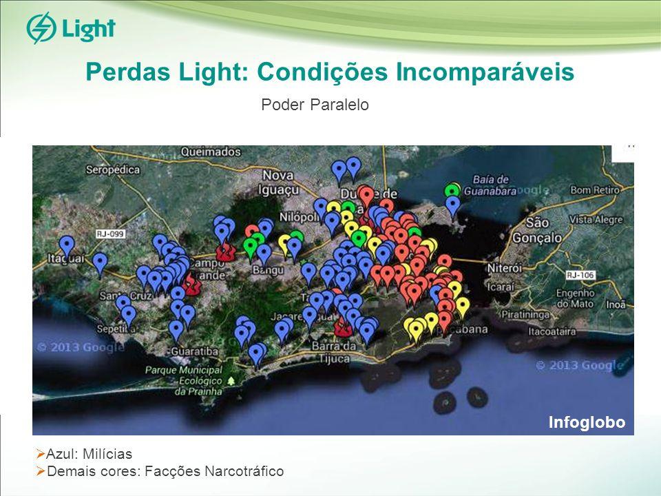 Azul: Milícias Demais cores: Facções Narcotráfico Perdas Light: Condições Incomparáveis Infoglobo Poder Paralelo