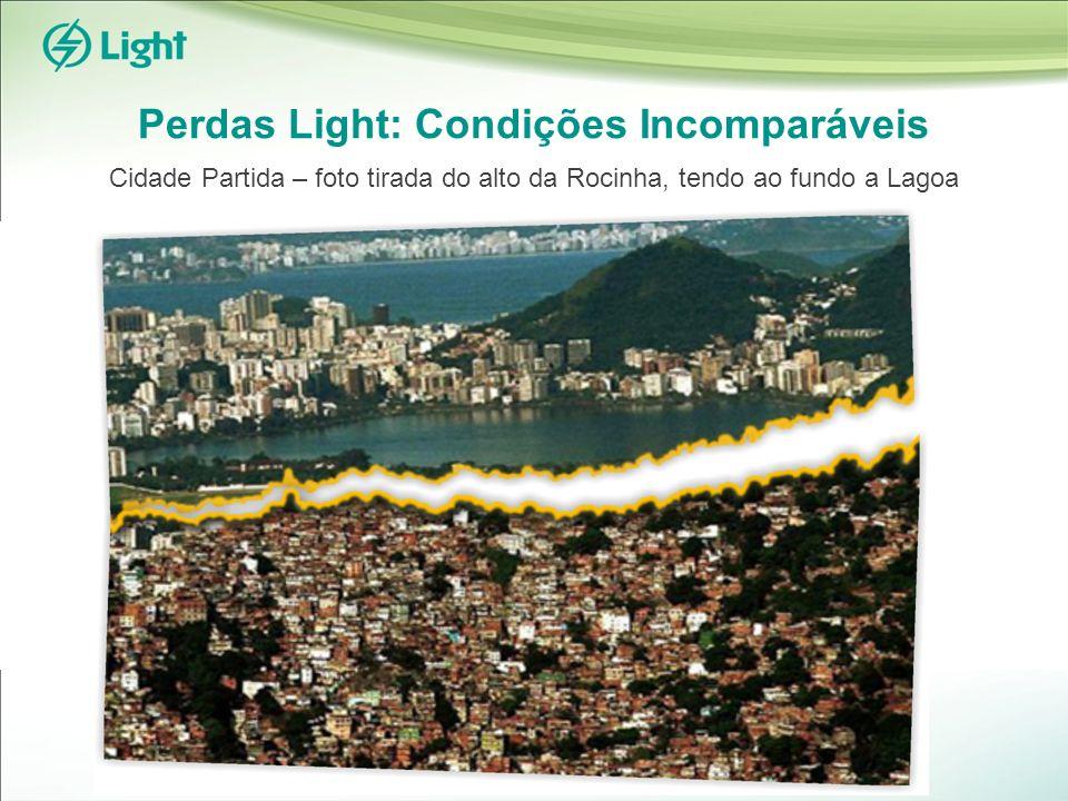 Perdas Light: Condições Incomparáveis Cidade Partida – foto tirada do alto da Rocinha, tendo ao fundo a Lagoa