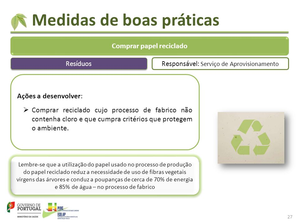 Medidas de boas práticas Comprar papel reciclado Ações a desenvolver: Comprar reciclado cujo processo de fabrico não contenha cloro e que cumpra critérios que protegem o ambiente.