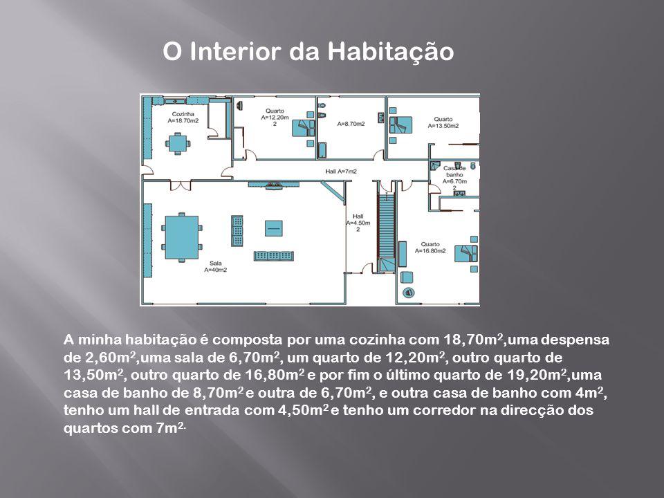 O Interior da Habitação A minha habitação é composta por uma cozinha com 18,70m 2,uma despensa de 2,60m 2,uma sala de 6,70m 2, um quarto de 12,20m 2,