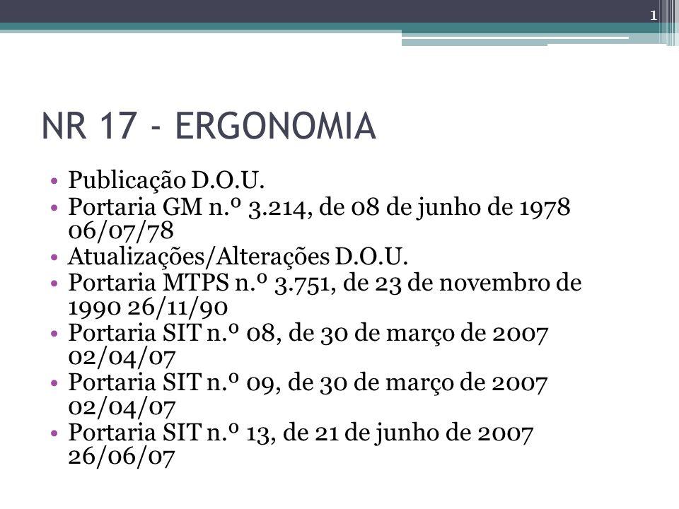 NR 17 - ERGONOMIA Publicação D.O.U. Portaria GM n.º 3.214, de 08 de junho de 1978 06/07/78 Atualizações/Alterações D.O.U. Portaria MTPS n.º 3.751, de