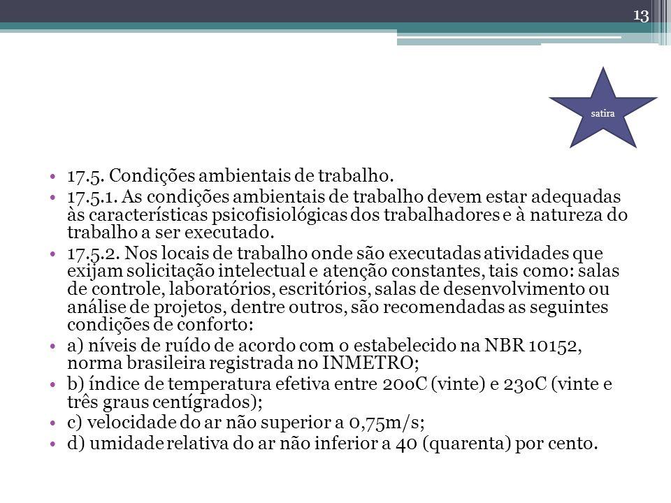 17.5. Condições ambientais de trabalho. 17.5.1. As condições ambientais de trabalho devem estar adequadas às características psicofisiológicas dos tra