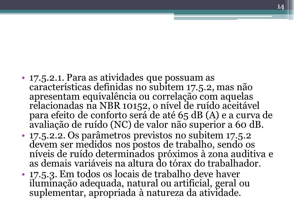 17.5.2.1. Para as atividades que possuam as características definidas no subitem 17.5.2, mas não apresentam equivalência ou correlação com aquelas rel