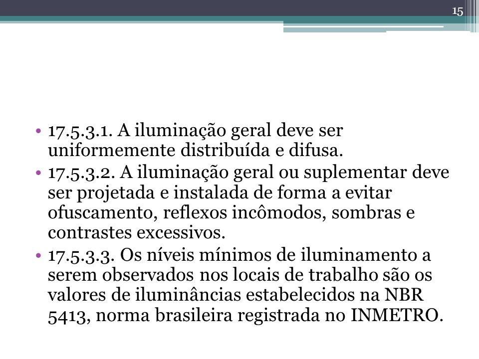 17.5.3.1. A iluminação geral deve ser uniformemente distribuída e difusa. 17.5.3.2. A iluminação geral ou suplementar deve ser projetada e instalada d