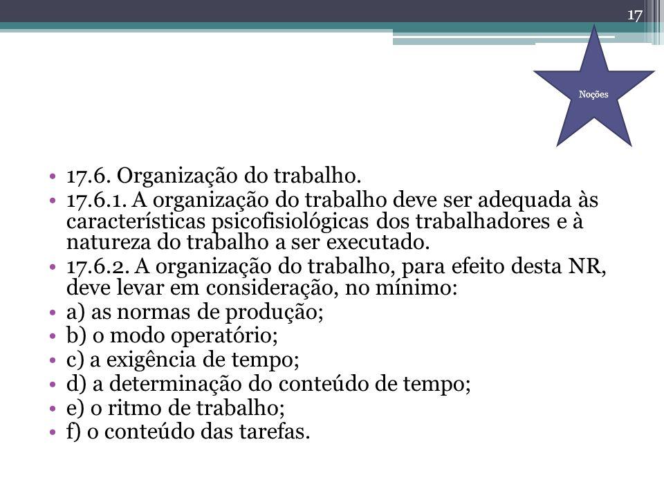 17.6. Organização do trabalho. 17.6.1. A organização do trabalho deve ser adequada às características psicofisiológicas dos trabalhadores e à natureza