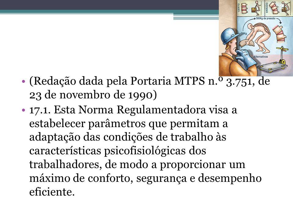 (Redação dada pela Portaria MTPS n.º 3.751, de 23 de novembro de 1990) 17.1. Esta Norma Regulamentadora visa a estabelecer parâmetros que permitam a a