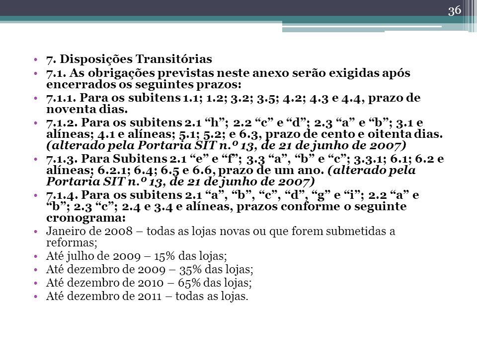 7. Disposições Transitórias 7.1. As obrigações previstas neste anexo serão exigidas após encerrados os seguintes prazos: 7.1.1. Para os subitens 1.1;