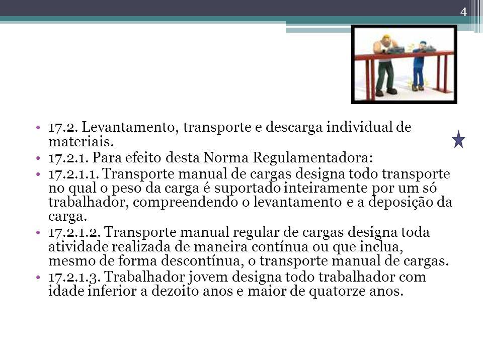 17.2. Levantamento, transporte e descarga individual de materiais. 17.2.1. Para efeito desta Norma Regulamentadora: 17.2.1.1. Transporte manual de car