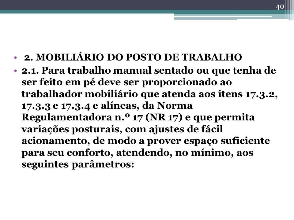 2. MOBILIÁRIO DO POSTO DE TRABALHO 2.1. Para trabalho manual sentado ou que tenha de ser feito em pé deve ser proporcionado ao trabalhador mobiliário