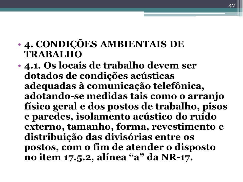4. CONDIÇÕES AMBIENTAIS DE TRABALHO 4.1. Os locais de trabalho devem ser dotados de condições acústicas adequadas à comunicação telefônica, adotando-s