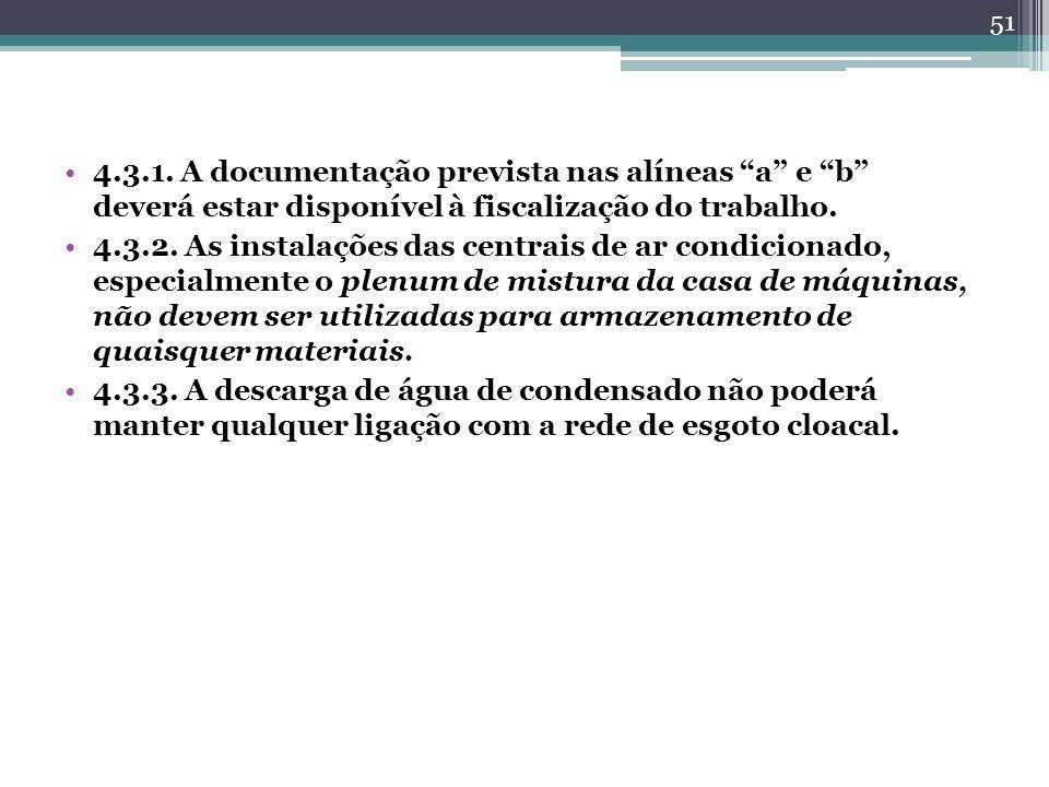 4.3.1. A documentação prevista nas alíneas a e b deverá estar disponível à fiscalização do trabalho. 4.3.2. As instalações das centrais de ar condicio