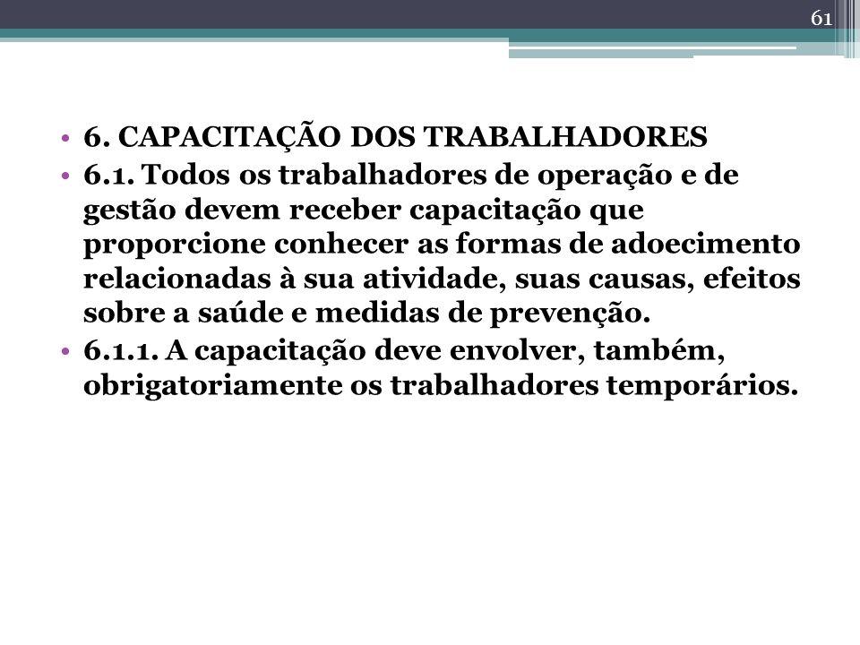 6. CAPACITAÇÃO DOS TRABALHADORES 6.1. Todos os trabalhadores de operação e de gestão devem receber capacitação que proporcione conhecer as formas de a