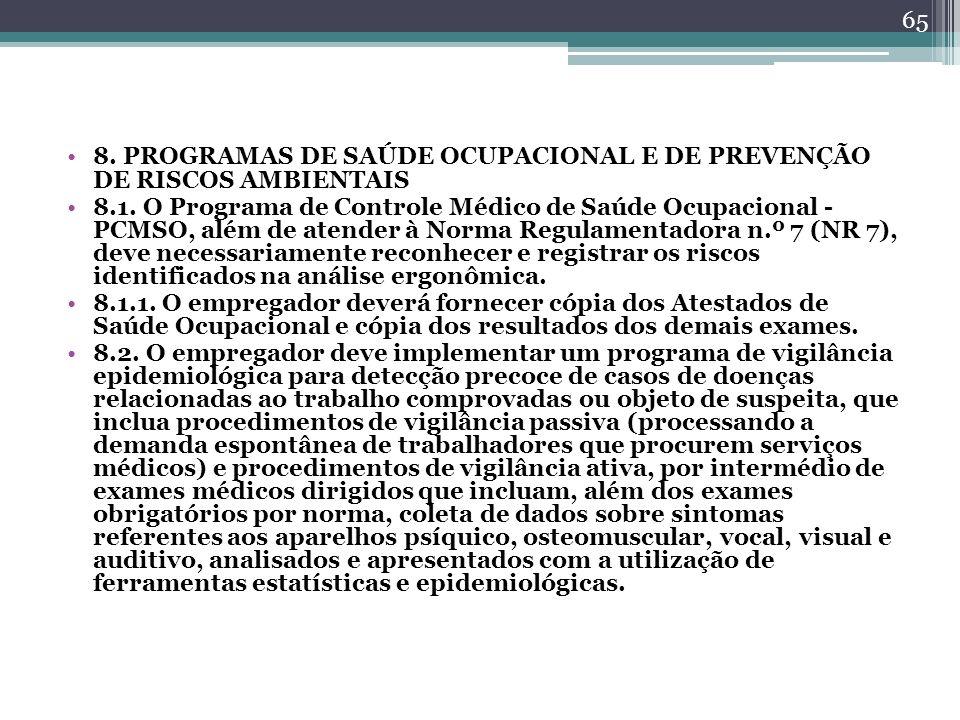 8. PROGRAMAS DE SAÚDE OCUPACIONAL E DE PREVENÇÃO DE RISCOS AMBIENTAIS 8.1. O Programa de Controle Médico de Saúde Ocupacional - PCMSO, além de atender