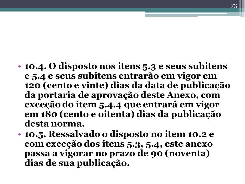 10.4. O disposto nos itens 5.3 e seus subitens e 5.4 e seus subitens entrarão em vigor em 120 (cento e vinte) dias da data de publicação da portaria d
