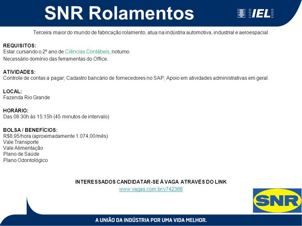SNR Rolamentos Terceira maior do mundo de fabricação rolamento, atua na indústria automotiva, industrial e aeroespacial.