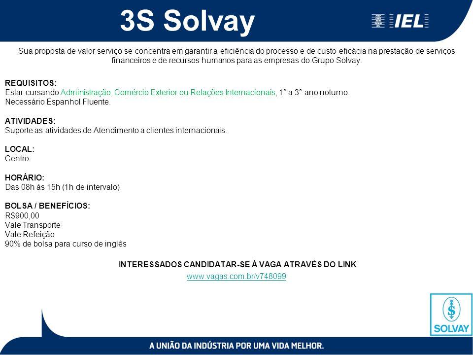 3S Solvay Sua proposta de valor serviço se concentra em garantir a eficiência do processo e de custo-eficácia na prestação de serviços financeiros e de recursos humanos para as empresas do Grupo Solvay.