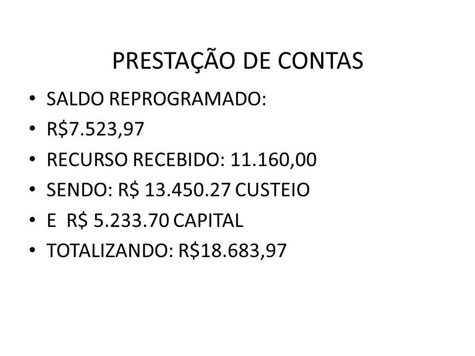 PRESTAÇÃO DE CONTAS SALDO REPROGRAMADO: R$7.523,97 RECURSO RECEBIDO: 11.160,00 SENDO: R$ 13.450.27 CUSTEIO E R$ 5.233.70 CAPITAL TOTALIZANDO: R$18.683,97