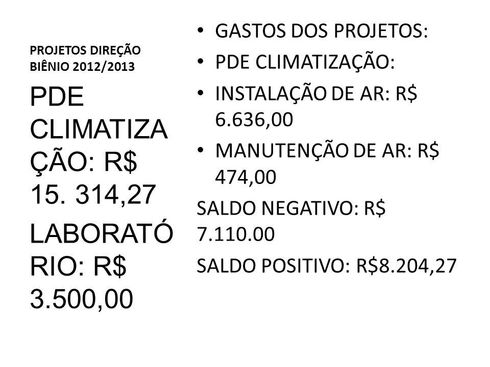 PROJETOS DIREÇÃO BIÊNIO 2012/2013 GASTOS DOS PROJETOS: PDE CLIMATIZAÇÃO: INSTALAÇÃO DE AR: R$ 6.636,00 MANUTENÇÃO DE AR: R$ 474,00 SALDO NEGATIVO: R$ 7.110.00 SALDO POSITIVO: R$8.204,27 PDE CLIMATIZA ÇÃO: R$ 15.