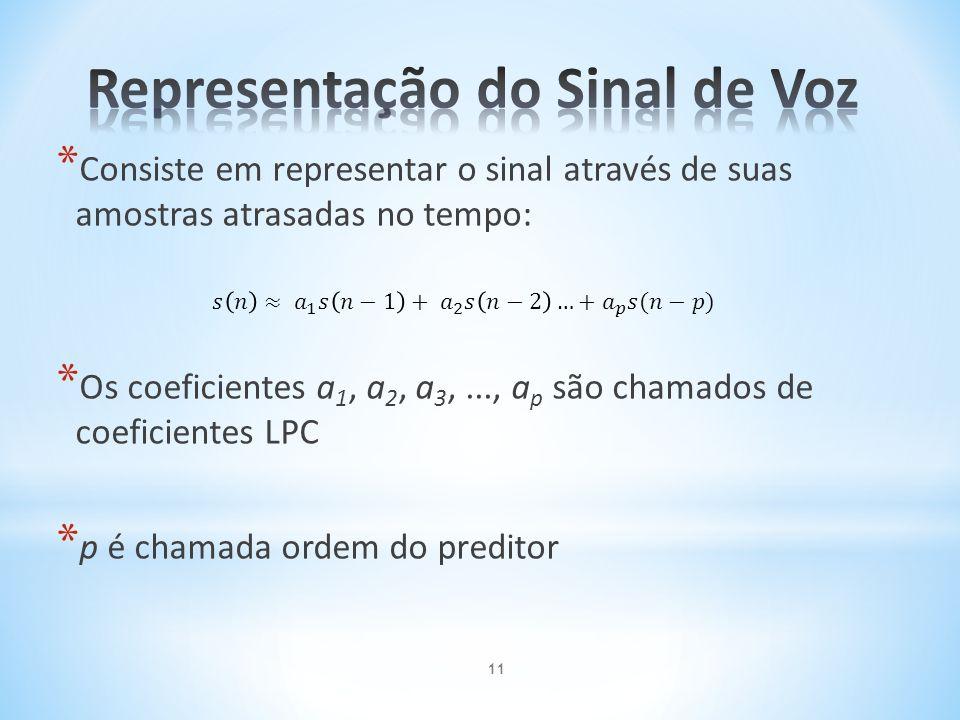 * Consiste em representar o sinal através de suas amostras atrasadas no tempo: * Os coeficientes a 1, a 2, a 3,..., a p são chamados de coeficientes L