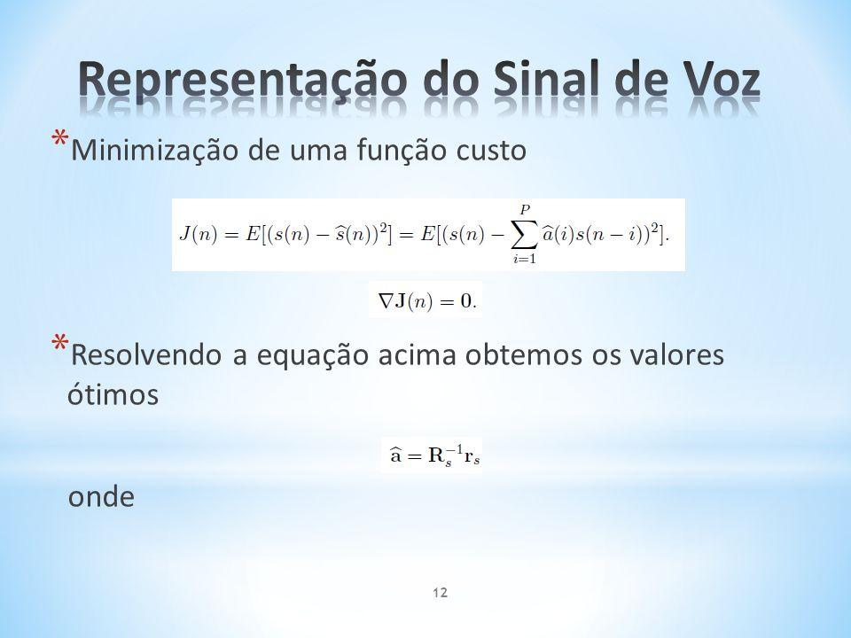 * Minimização de uma função custo * Resolvendo a equação acima obtemos os valores ótimos onde 12