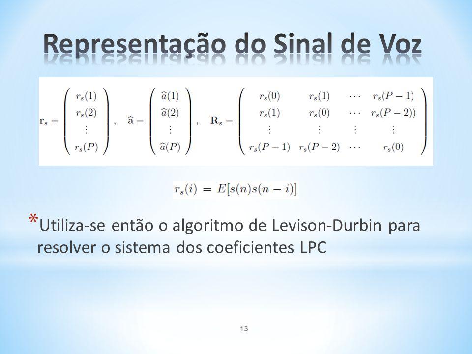 * Utiliza-se então o algoritmo de Levison-Durbin para resolver o sistema dos coeficientes LPC 13