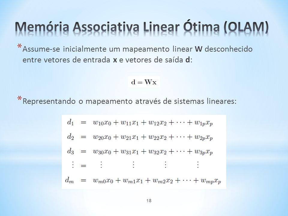 * Assume-se inicialmente um mapeamento linear W desconhecido entre vetores de entrada x e vetores de saída d: * Representando o mapeamento através de