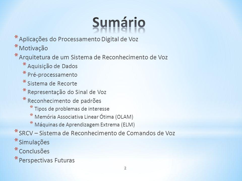 * Aplicações do Processamento Digital de Voz * Motivação * Arquitetura de um Sistema de Reconhecimento de Voz * Aquisição de Dados * Pré-processamento