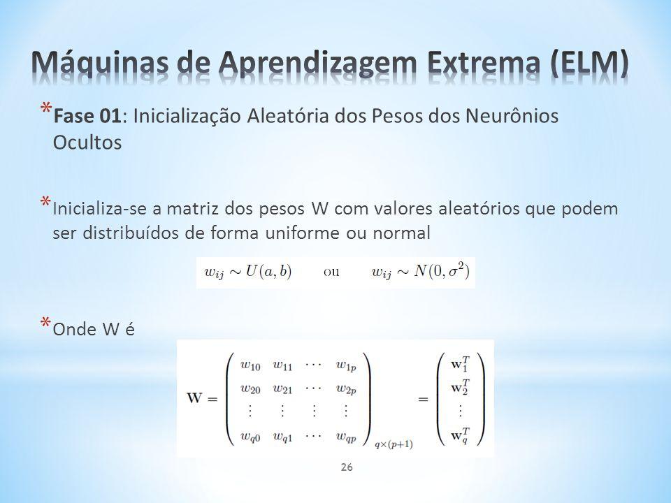 * Fase 01: Inicialização Aleatória dos Pesos dos Neurônios Ocultos * Inicializa-se a matriz dos pesos W com valores aleatórios que podem ser distribuí