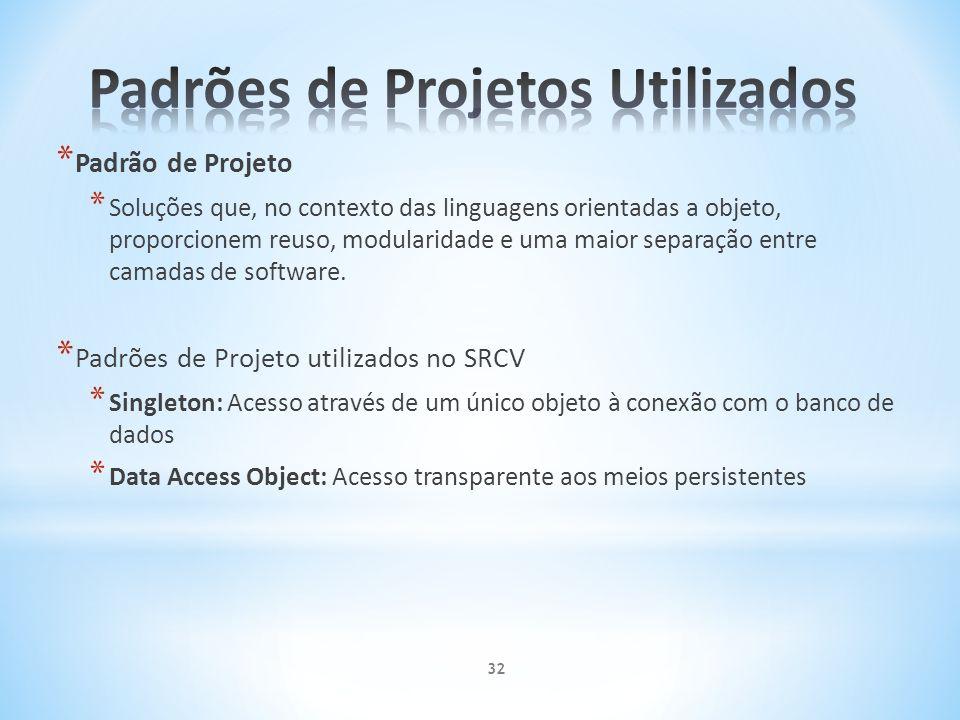 * Padrão de Projeto * Soluções que, no contexto das linguagens orientadas a objeto, proporcionem reuso, modularidade e uma maior separação entre camad