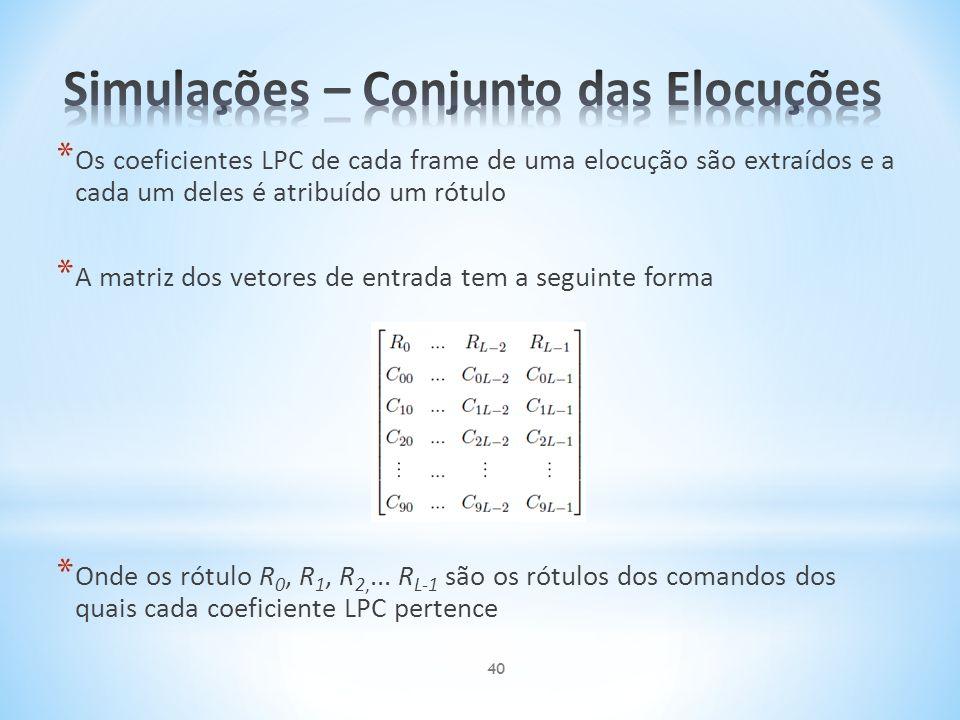 * Os coeficientes LPC de cada frame de uma elocução são extraídos e a cada um deles é atribuído um rótulo * A matriz dos vetores de entrada tem a segu