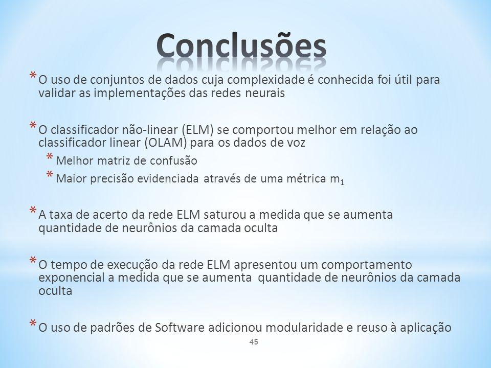 * O uso de conjuntos de dados cuja complexidade é conhecida foi útil para validar as implementações das redes neurais * O classificador não-linear (EL