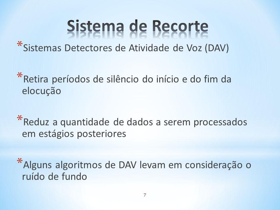* Sistemas Detectores de Atividade de Voz (DAV) * Retira períodos de silêncio do início e do fim da elocução * Reduz a quantidade de dados a serem pro