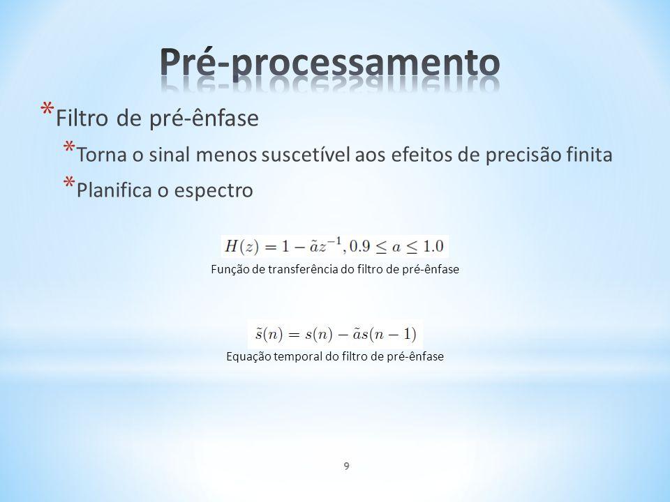 * Filtro de pré-ênfase * Torna o sinal menos suscetível aos efeitos de precisão finita * Planifica o espectro Função de transferência do filtro de pré