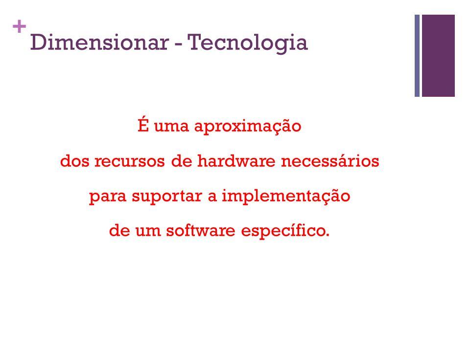+ Dimensionar - Tecnologia É uma aproximação dos recursos de hardware necessários para suportar a implementação de um software específico.