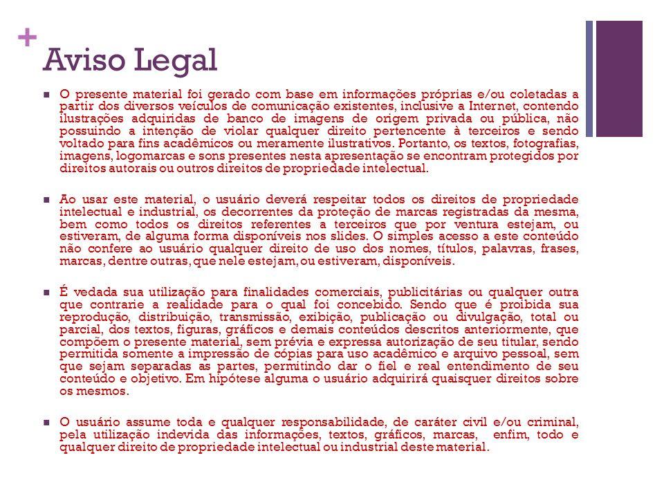 + Aviso Legal O presente material foi gerado com base em informações próprias e/ou coletadas a partir dos diversos veículos de comunicação existentes,