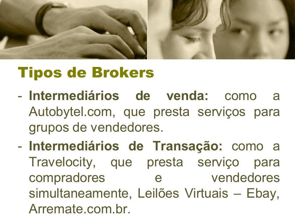 Tipos de Brokers -Intermediários de venda: como a Autobytel.com, que presta serviços para grupos de vendedores. -Intermediários de Transação: como a T