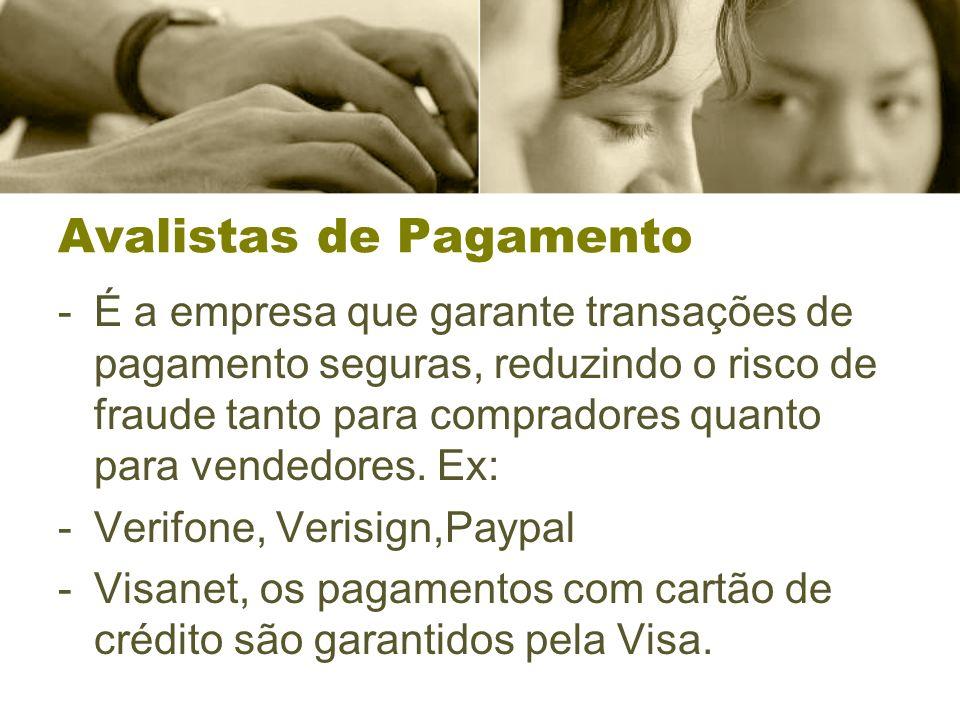 Avalistas de Pagamento -É a empresa que garante transações de pagamento seguras, reduzindo o risco de fraude tanto para compradores quanto para vended