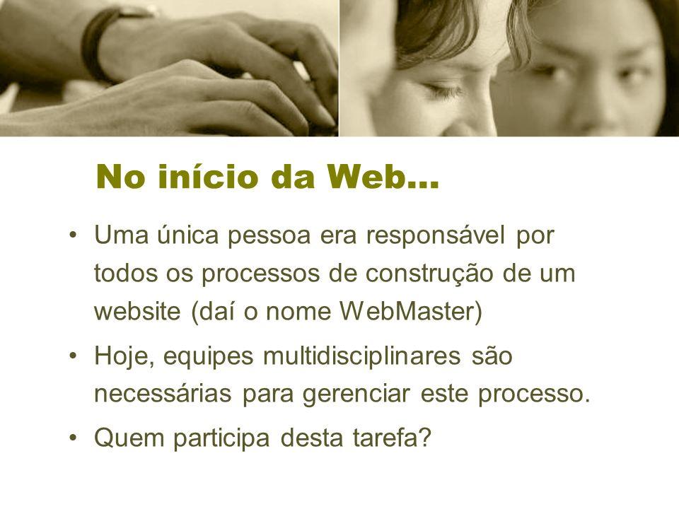 No início da Web... Uma única pessoa era responsável por todos os processos de construção de um website (daí o nome WebMaster) Hoje, equipes multidisc