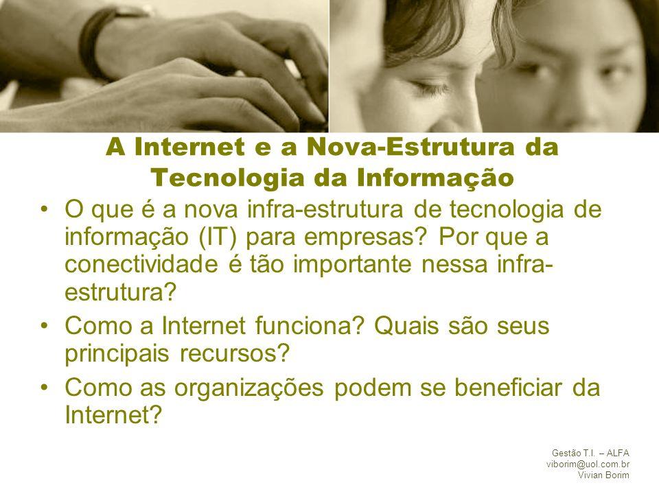 Gestão T.I. – ALFA viborim@uol.com.br Vivian Borim A Internet e a Nova-Estrutura da Tecnologia da Informação O que é a nova infra-estrutura de tecnolo