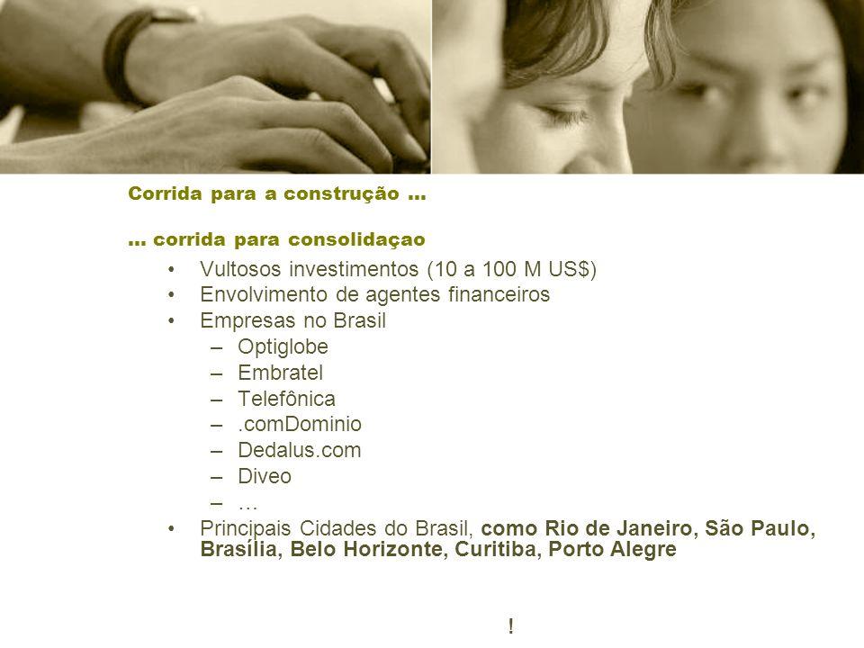 Corrida para a construção … … corrida para consolidaçao Vultosos investimentos (10 a 100 M US$) Envolvimento de agentes financeiros Empresas no Brasil