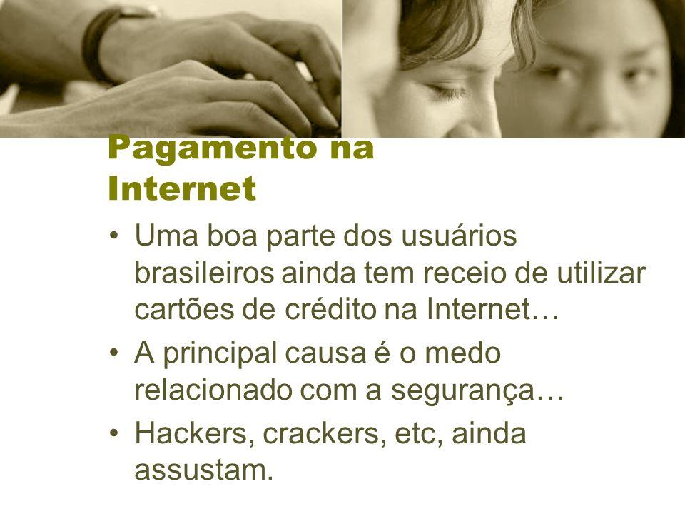 Pagamento na Internet Uma boa parte dos usuários brasileiros ainda tem receio de utilizar cartões de crédito na Internet… A principal causa é o medo relacionado com a segurança… Hackers, crackers, etc, ainda assustam.