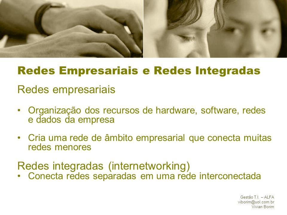 Gestão T.I. – ALFA viborim@uol.com.br Vivian Borim Redes Empresariais e Redes Integradas Redes empresariais Organização dos recursos de hardware, soft