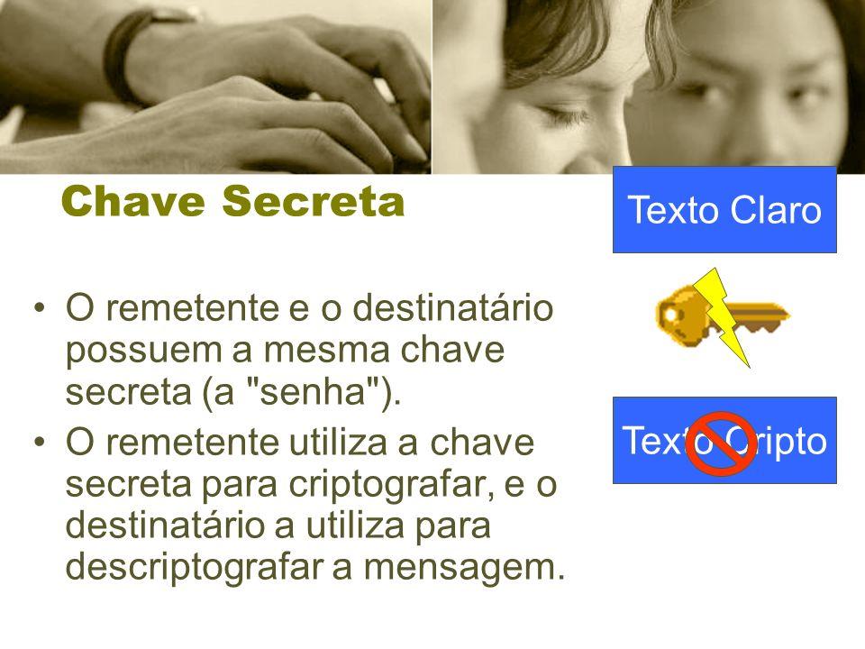 Chave Secreta O remetente e o destinatário possuem a mesma chave secreta (a