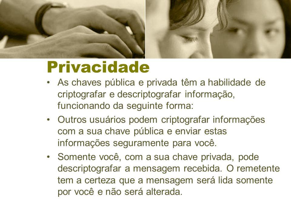 Privacidade As chaves pública e privada têm a habilidade de criptografar e descriptografar informação, funcionando da seguinte forma: Outros usuários