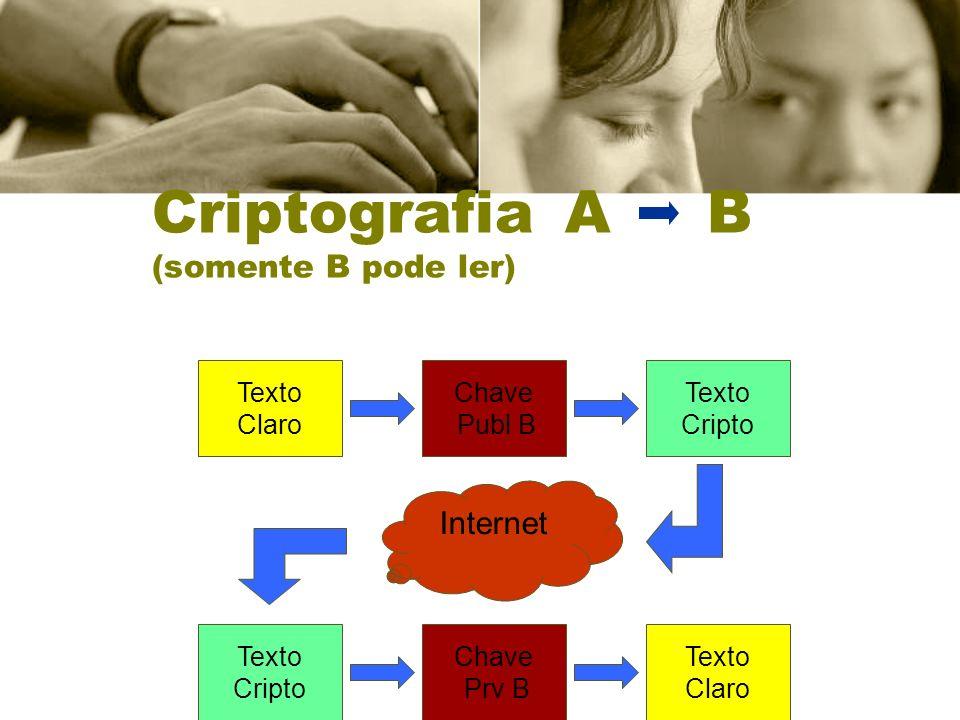 Criptografia A B (somente B pode ler) Texto Claro Chave Publ B Texto Cripto Internet Texto Cripto Chave Prv B Texto Claro